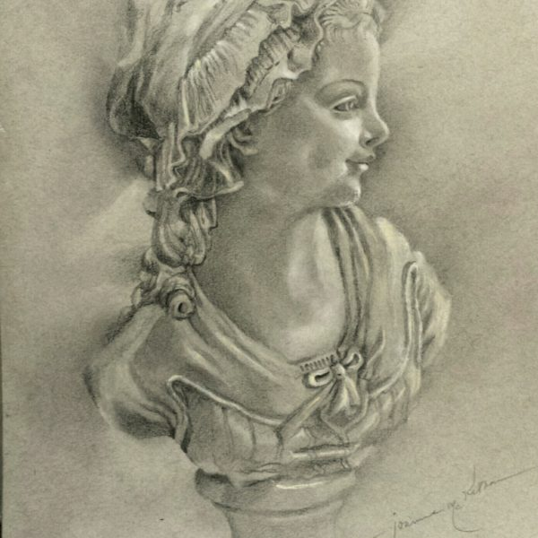 Little Girl Rendering of Grinam Bust, Pencil Drawing with White Chalk