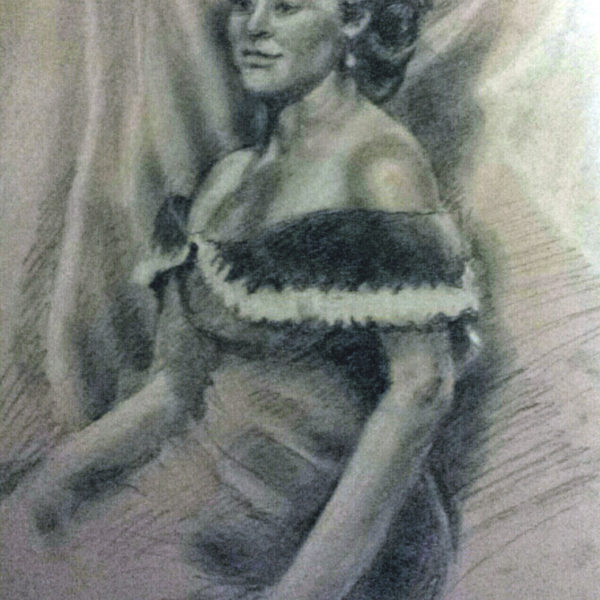 Lady in Off-Shoulder Dress - Pencil with White Chalk