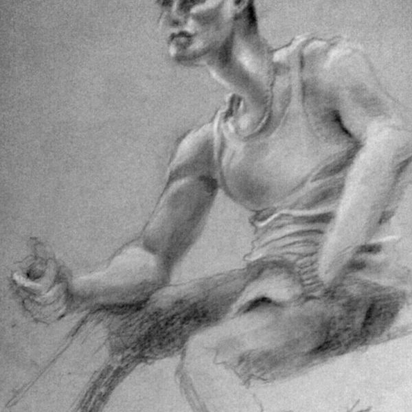 The Body Builder - Pencil with White Chalk